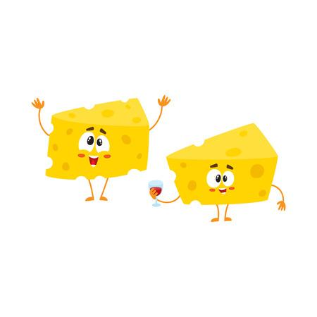 別の挨拶、お祝いの概念、ワインのガラスを保持する 2 つの面白いチーズ塊文字漫画、白い背景で隔離のベクトル図です。2 つの面白いチーズ部分文  イラスト・ベクター素材