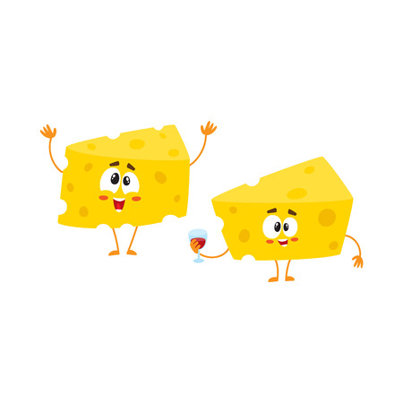 Two funny cheese chunk characters, one holding wine glass, another greeting, celebration concept, cartoon vector illustration isolated on white background. Two funny cheese piece characters, mascots Illustration