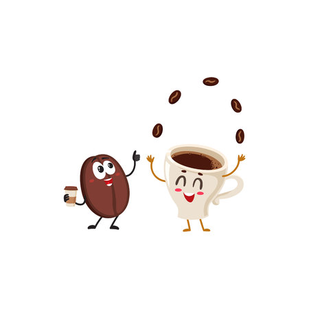 Funny characters of crazy coffee bean and juggling espresso cup, cartoon vector illustration isolated on white background. Coffee bean hands up from awe and juggling espresso cup characters, mascots