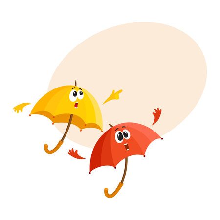 Two funny umbrella characters with human faces pointing to something and fling arms up with surprise, cartoon vector illustration with place for text. Couple of umbrella, parasol characters