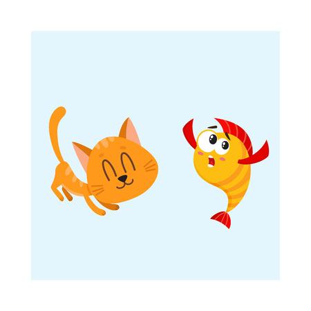 Lustige lächelnde Katze, Kätzchencharakter, der versucht, goldene, gelbe Fische, Karikaturvektorillustration zu fangen und zu essen lokalisiert auf weißem Hintergrund. Goldener Fisch und kleine Katze, Kätzchencharaktere, Maskottchen Standard-Bild - 74729249