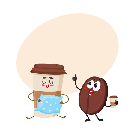Funny coffee bean and sleepy paper cup characters, breakfast, morning, wake up concept, cartoon vector illustration with place for text. Coffee bean and paper coffee cup characters, mascots Illustration