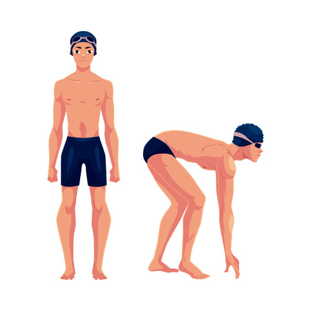 swimming cap: Handsome man, swimmer in swimming suit, cap, in standing and starting positions, cartoon vector illustration isolated on white background. Man, male swimmer in swimming suit