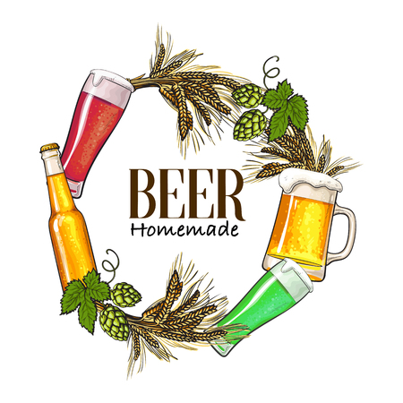 Round frame of beer bottle, mug and glass, malt and hop with place for text, sketch vector illustration isolated on white background. Hand drawn beer bottle, glass round frame with place for text Illustration