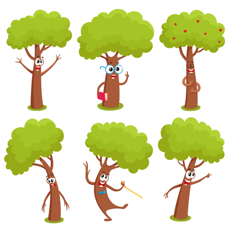 Set of funny comic tree characters showing various emotions, cartoon vector illustration on white background. Collection of funny tree characters, mascots, emoticons with human faces Stock Illustratie