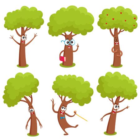 Satz lustige komische Baumcharaktere, die verschiedene Gefühle, Karikaturvektorillustration auf weißem Hintergrund zeigen. Sammlung lustige Baumcharaktere, Maskottchen, Emoticons mit menschlichen Gesichtern Vektorgrafik