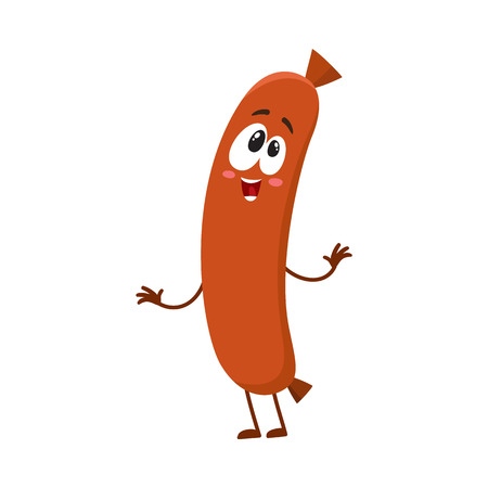 Cute and funny sausage character with human face showing awe, admiring something, cartoon vector illustration isolated on white background. Sausage character, mascot, looking at something with awe Illustration