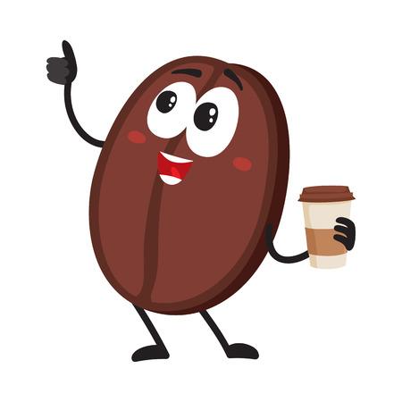 Het grappige karakter van de koffieboon met menselijk gezicht met document kop die duim toont, beeldverhaal vectordieillustratie op witte achtergrond wordt geïsoleerd. Koffieboonkarakter, mascotte die koffie van document kop drinkt