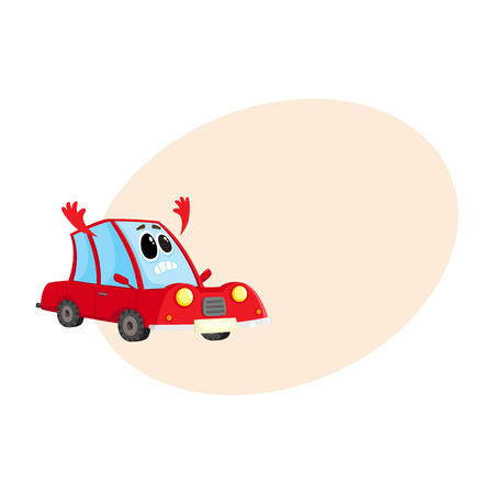 Funny red car, auto character flinging up its arms in dismay, despair, horror, cartoon vector illustration with place for text. Red car character, mascot with human face sad, showing despair Illustration