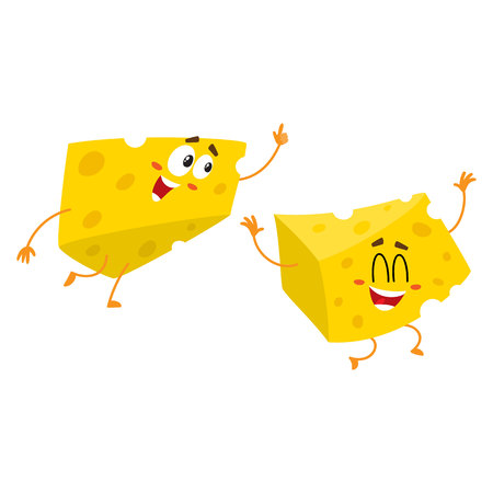 Two Cute and funny cheese chunk character pointing up with its finger, cartoon vector illustration isolated on white background. Funny cheese piece character, mascot with human face pointing up Illustration