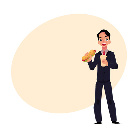 Young businessman in business suit eating sandwich, holding coffee cup, lunch break concept, cartoon vector illustration with place for text. Businessman, employee eating lunch on the go 向量圖像