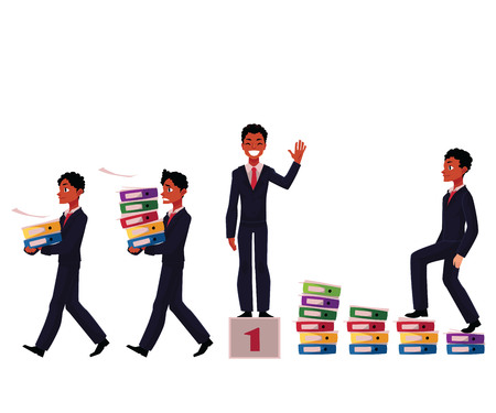 Creative design of an African American businessman carrying folders, success, winning, career ladder, cartoon vector illustration isolated on white background. Black businessman in various business situations