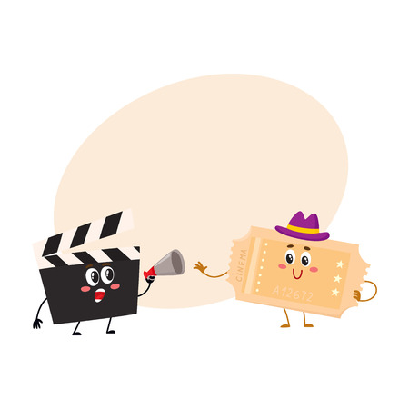 ticker: Cinema production clapperboard and movie ticket characters with smiling human faces, cartoon vector illustration with place for text. Cinema clapper board and movie ticket characters, mascots Illustration