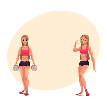 Woman bodybuilder, weightlifter holding dumbbells and drinking protein shake, cartoon vector illustration with place for text. Woman bodybuilder with dumbbells and drinking protein Illustration