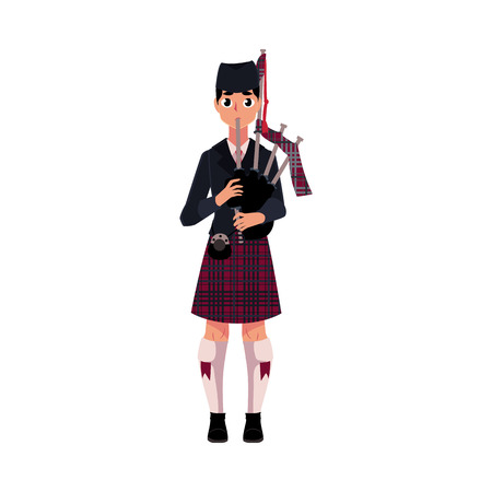 scottish culture: Scottish male bagpiper, piper in national clothes, tartan beret and kilt, cartoon vector illustration isolated on white background. Illustration