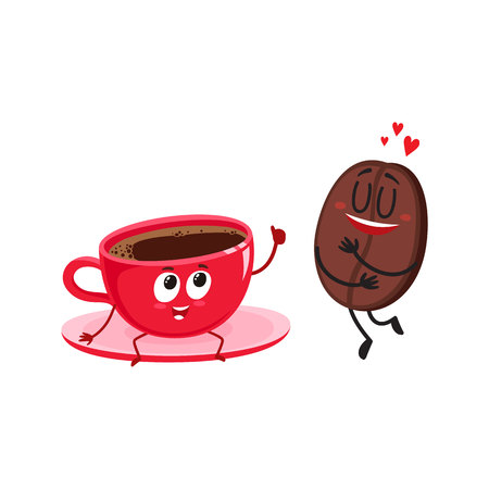 Funny characters of coffee bean showing love and espresso cup giving thumb up, cartoon vector illustration isolated on white background. Coffee bean and espresso cup characters, mascots, coffee love