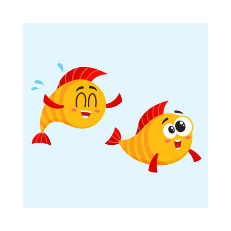 Two funny, smiling, crazy golden fish characters swimming together, cartoon vector illustration isolated on white background. Yellow fish characters, mascots, friends