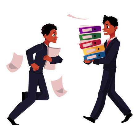 Black businessman, manager in stressful business situations, harrying, running, carrying documents, cartoon vector illustration