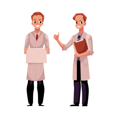 Two male doctors in medical coats, one holding blank board, sign, plate, another showing thumb up, cartoon vector illustration isolated on white background. Full length portrait of two man doctors