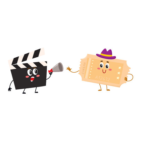 Cinema production clapperboard and movie ticket characters with smiling human faces, cartoon vector illustration isolated on white background. Cinema clapper board and movie ticket characters, mascots