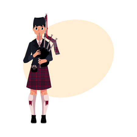 Scottish male bagpiper, piper in national clothes, tartan beret and kilt, cartoon vector illustration with place for text.