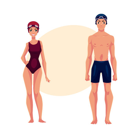 Couple of swimmers, man and woman, in swimming suits, caps , cartoon vector illustration with place for text.