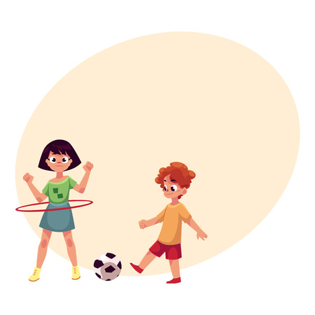 Boy and girl playing football and spinning hula hoop at a playground cartoon vector illustration with place for text.
