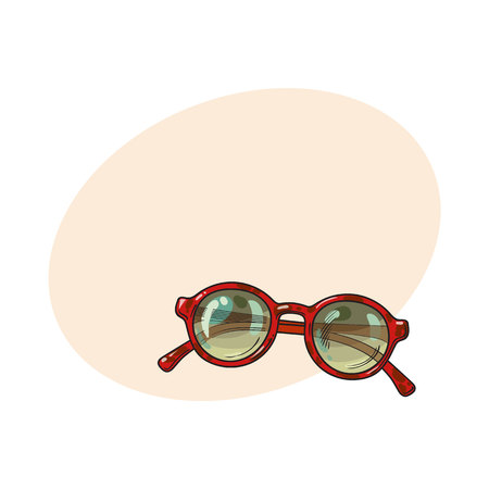 Fashionable round sunglasses in red plastic frame, summer vacation attribute, sketch vector illustration with place for text. Hand drawn round glamorous sunglasses, symbol of summer vacation Illustration