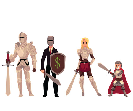 Set of modern and medieval knights, man, boy and woman cartoon vector illustration isolated on white background. Illustration