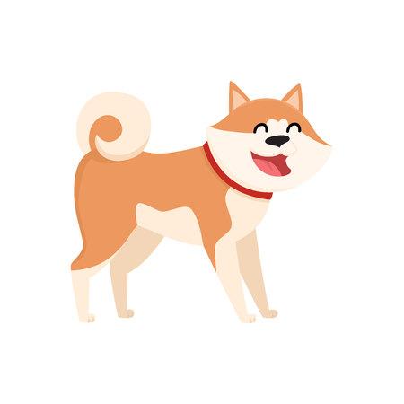 akita: Cute smiling Akita Inu dog cartoon vector illustration isolated on white background.