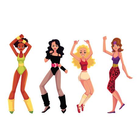 Las niñas, las mujeres en el estilo aeróbicos estilo 80 disfrutando de entrenamiento de baile de deporte, ilustración vectorial de dibujos animados aisladas sobre fondo blanco. Retro, muchachas del estilo del vintage, mujeres que bailan, entrenamiento aerobio de la aptitud
