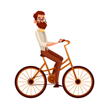 Bearded man in vest and bow tie riding a bicycle, cycling, cartoon vector illustration isolated on white background. Full length, side view portrait of bearded man, scientist riding a bicycle, cycling Ilustrace