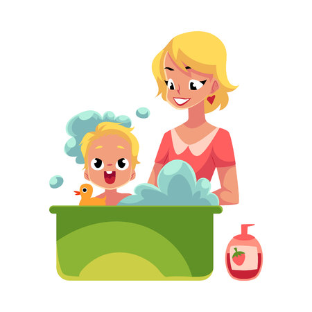 Young mother washing her baby, son, child in bathtub full of foam, cartoon vector illustration isolated on white background. Blond mother washing, bathing baby, child care concept Illustration