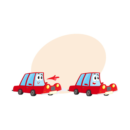 hurrying: Two cute and funny red car characters racing, hurrying somewhere at full speed, cartoon vector illustration with place for text. Funny red car character, mascot racing with each other