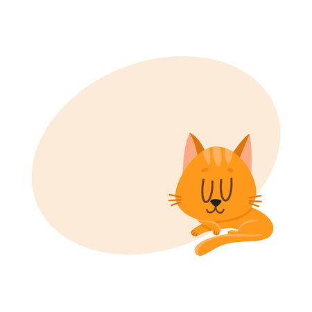 Cute and funny red cat character sleeping, dreaming sweetly, cartoon vector illustration with place for text. Cute and funny sleeping red cat character Иллюстрация