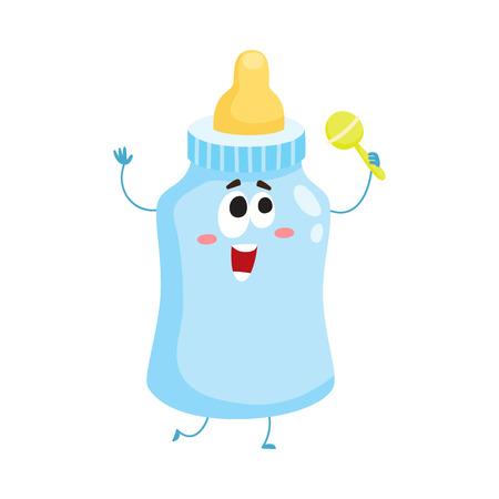 Nette und lustige Babymilch, Fütterungsflaschencharakter mit dem menschlichen Gesicht, das Rasselspielzeug, Karikaturvektorillustration lokalisiert auf weißem Hintergrund hält. Milchflasche Charakter, Maskottchen, Kinderbetreuung Konzept Standard-Bild - 75396234