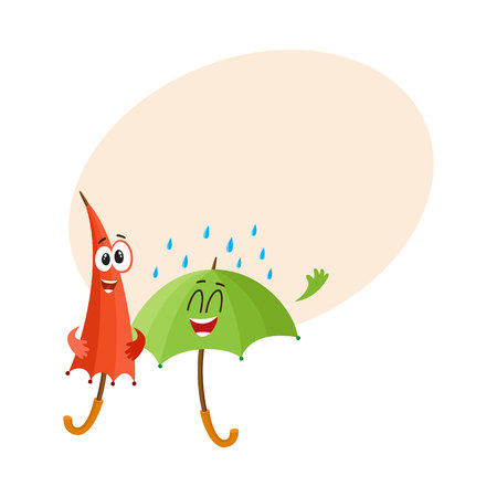 foldable: Two funny umbrella characters with human faces, open and closed, under rain, cartoon vector illustration with place for text. Couple of funny umbrella, parasol characters, happy with rain Illustration