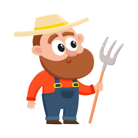 pitchfork: Funny farmer, gardener character in straw hat and overalls holding hayfork, pitchfork, cartoon vector illustration isolated on white background. Comic farmer character, design elements