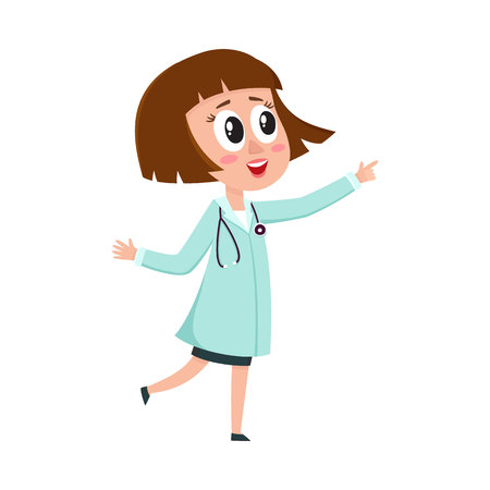 Comic woman doctor character with bob haircut wearing medical coat, pointing to something, cartoon vector illustration isolated on white background. Full length portrait of funny woman doctor pointing Illustration