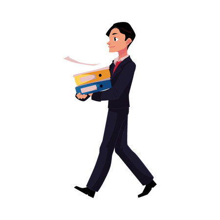 Young businessman going somewhere, carrying folders, cartoon vector illustration isolated on white background. Young businessman with pile of document folders Illustration