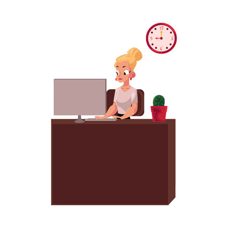 Young pretty blond businesswoman, secretary, office manager working on computer.