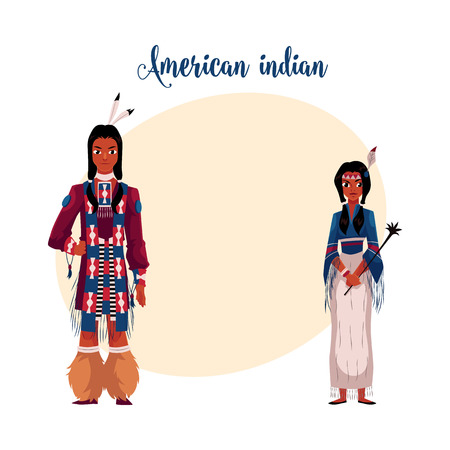 Native American Indian couple in national clothes, wearing tribal fringed shirts, cartoon vector illustration with place for text. Native American, Indian people in national clothes