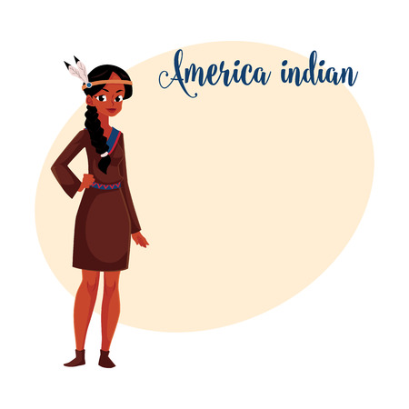 Native American Indian woman in traditional, national short buckskin dress, cartoon vector illustration with place for text. Native American, Indian woman in national clothes Illustration