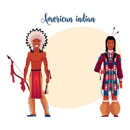 Conjunto De Indios Americanos Nativos Homens E Mulheres Em
