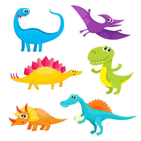 pterodactyl: Set of cute and funny smiling baby dinosaurs, cartoon vector illustration isolated on white background. Set of funny dinosaurs stegosaurus, triceratops, T-rex, brontosaurus, spinosaurus, pterodactyl