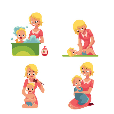 Set of young mother washing baby in bath, putting diaper on, combing hair, drying with towel, cartoon vector illustration isolated on white background. Mother washing, bathing caring baby, kid Çizim
