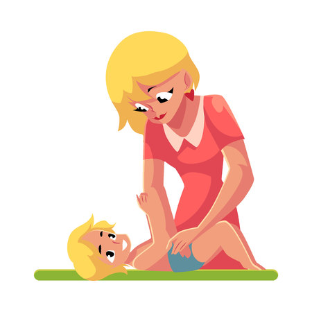 Young mother changing her babys diaper, nappy, cartoon vector illustration isolated on white background. Blond mother changing diape, nappy for her baby, child care concept
