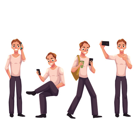 Young man using phone, smartphone in different poses - standing, sitting, walking, making selfie, cartoon vector illustration isolated on white background. Man, boy calling, texting, using phone