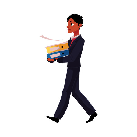 Black, African American businessman going somewhere, carrying folders, cartoon vector illustration isolated on white background. Black businessman with pile of document folders Illustration