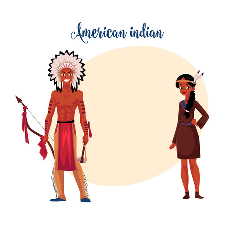 Native American Indian couple in traditional buckskin dress and breechcloth with leggings, cartoon vector illustration with space for text. Native American, Indian people in national clothes